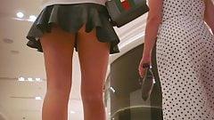2 sexy women of the club in hot mini skirt upskirt