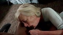 Mature blonde granny shows oral skills on BBC