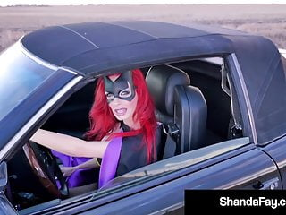 Lusty busty super heroine Super heroin wife shanda fay blows cock on side of the road