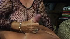 Grandma in a fishnet give a blowjob