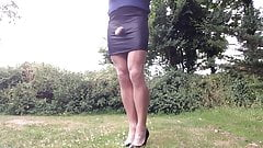Special black mini skirt outdoors .