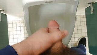 Cumming in urinal at work