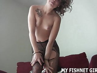 I feel my pussy - I feel so sexy in my ripped fishnets joi