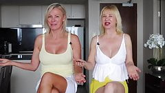 two mature lady upskirt nipples and crossed legs one video 4