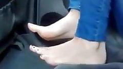 Hot Sweaty Syrian feet in Egypt in a car!
