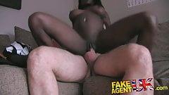 FakeAgentUK Stunning Ebony amateur deep throats big cock