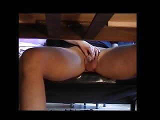 Vibrator under the table - Handjob under the table