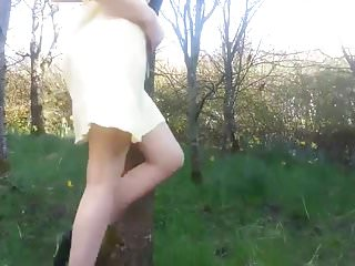 Why is my pee yellow - Hot upskirt peeing and teasing in yellow dress near highway