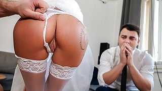 DEBT4k. Slutty wife cheats on husband for cash in front