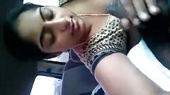 Desi girl blowing lover in car