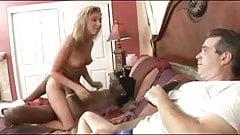 Busty blonde hotwife  humiliate her sissy cuckold husband.