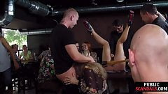 Public slut caned and facefucked by masters