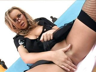 Free gay video uniform - Uniformed babe sex in fishnet stockings and heels