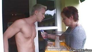 Stallion bangs granny next door