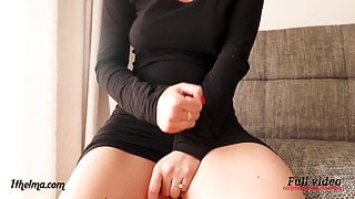 Jerk-off instructions. Hot woman in black dress makes you cum