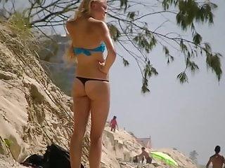 Thong bikini slideshow - Amazing young blonde in thong bikini