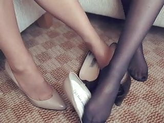 High heels dominatrix pantyhose - High heels shoeplay in pantyhose