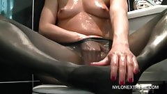 Chloe oils up pantyhose and finger pussy for your eyes only