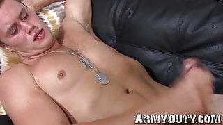 Lovely dude in black socks jerks himself off while moaning