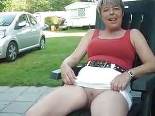 Upskirt wife public - Caravan holiday upskirt