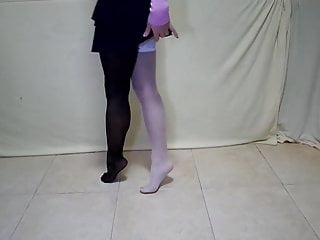 Adult sock shoes Walking barefoot, without shoes on socks in nylon stockings