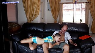 Stepfather fucks stepdaughter hard in her tight ass