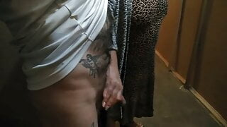a girl jerks off my cock in the entrance