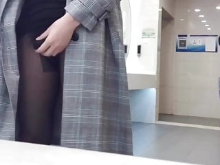 Chinese girls with dicks Cd tranny, risky dick flashing in womens restroom, cum