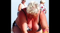 Big Boobs Granny VS Big Boobs Mom (Beach Voyeur)