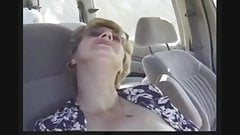 Granny fucking with young man on car