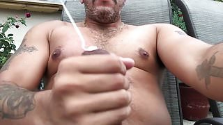 Jerking off with a huge load.
