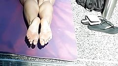 Candid soles doing yoga