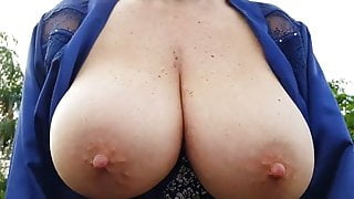 Mature Flashes Tits in Public