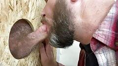 Sucking a hairy tradesman through a Glory Hole