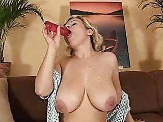 Big tit milf with dildo - Busty milf with red dildo
