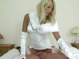 Girdle hardcore Domme in white girdle gloves and stockings