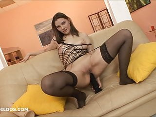 A big girls pussy - Gaping her asshole with a big brutal dildo