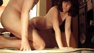 Hairy housewife's big orgasm fuck