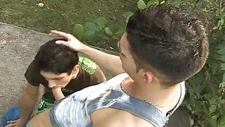 Two gay guys fucking outside outside