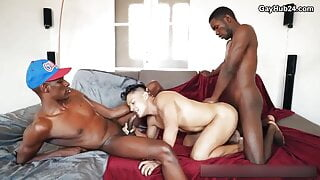 Threesome bareback action with two BBC and hot twink