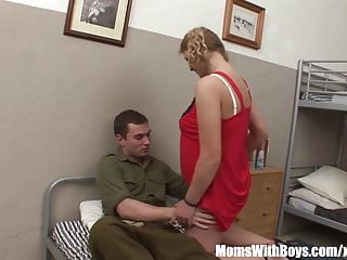 Asian soldier ruk - Young soldier rewarded with a mature blonde whore