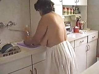 Boob granny Woman with big ass and boobs cleaning the house mature