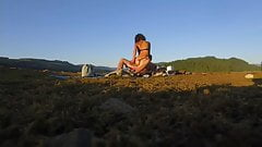 Ebony goddess in public with the drone cam!