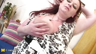 Huge mama loves to get wet on her own