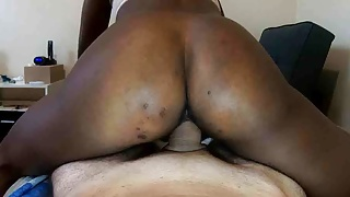Ebony womb riding white cock until she is full of cum