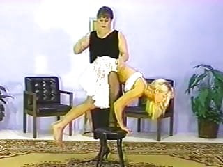 Spanked diapered over knee - Spanked over one knee