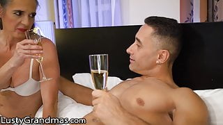 LustyGrandmas GILF Greets Stud in His Bedroom