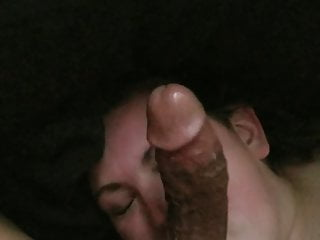 Black cock looking slut white wife White girl looks up at bbc while she licks balls
