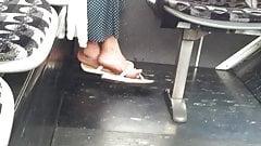 Candid mature feet in flip flops pt 3