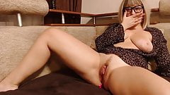 Blonde woman caresses her hole